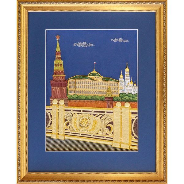 Panel 'Moscow' blue with gold embroidery