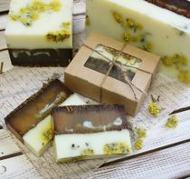 Squared handmade soap with herbs Lime color 0.9 kg
