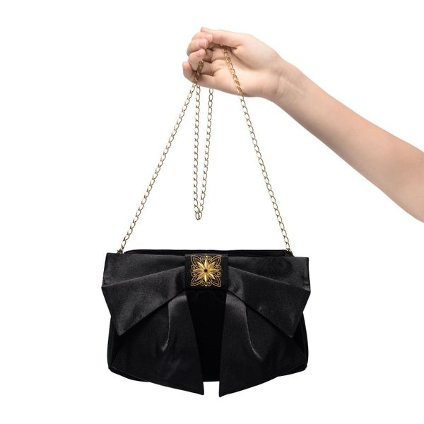 Velvet clutch bag 'Madeline' in black with gold embroidery