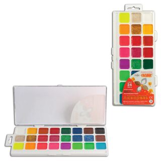 Water-colour GAMMA Orange sun, 24 colors, no brush, plastic box, Euro slot