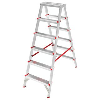 NEW HEIGHT / Aluminum stepladder, double-sided 2x6 WIDE STEPS 13 cm, platform 1.4 m, up to 225 kg, weight 6.3 kg