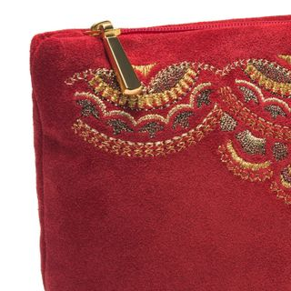 "Suede cosmetic bag ""Sunrise"" red color with Golden embroidery"
