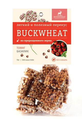 Buckwheat / Sugar-free snack with tomato and basil, 70g, 10 pcs.