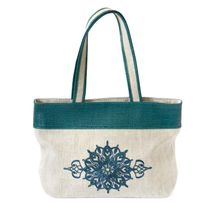 Linen bag 'Polonaise' green with silk embroidery