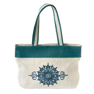 "Linen bag ""Polonaise"" green with silk embroidery"