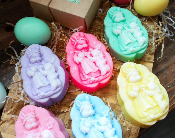 Handmade soap olive for Easter Rabbits - mix colors