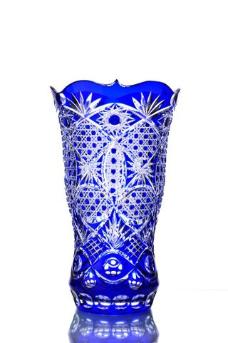 "Crystal vase for flowers ""Autumn"" blue"