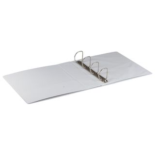 Folder on 4 rings with front transparent pocket BRAUBERG, cardboard/PVC, 75 mm, white, 500 sheets