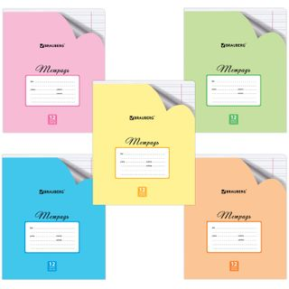 Notebook 12 sheets BRAUBERG ECO, narrow line, offset cover, PASTEL WITH CORNER