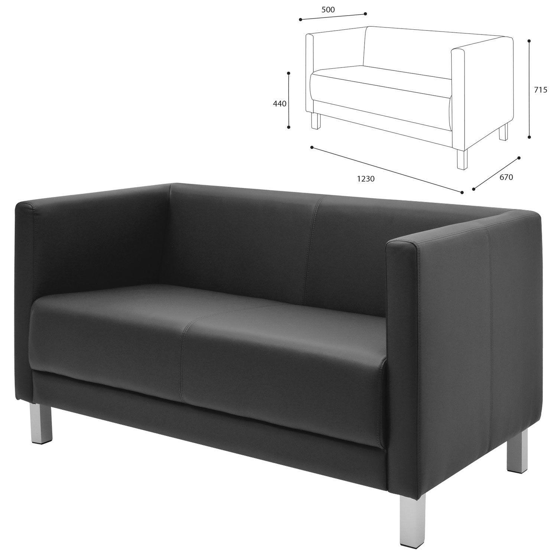 "GARTLEX / Sofa soft double ""Atlanta"", ""M-01"", 1230х670х715 mm, with armrests, eco-leather, black"