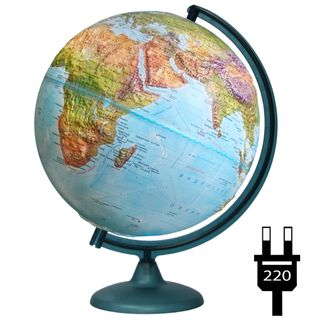 Geographical relief globe with a diameter of 320 mm with backlight