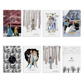 "Sketchbook, ivory + black paper 80 g / m2, 140x210 mm, 112 sheets, book hardcover, ""MIX"""