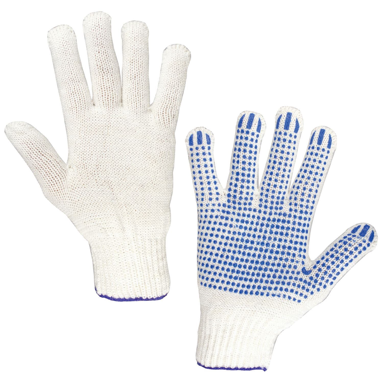 LIME / Cotton gloves STANDARD, SET of 5 PAIRS, 7.5 class, 46-48 g, 166 tex, PVC point, WHITE