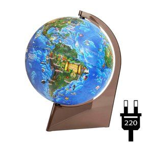 Children's globe 210mm on a triangle with light on a plastic stand, working from the outlet