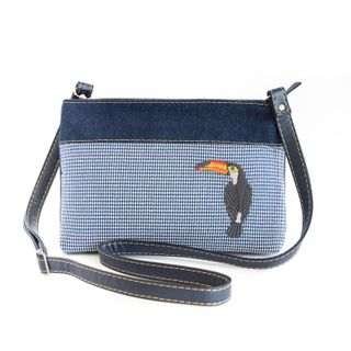 Bag denim Tropicana blue with silk embroidery