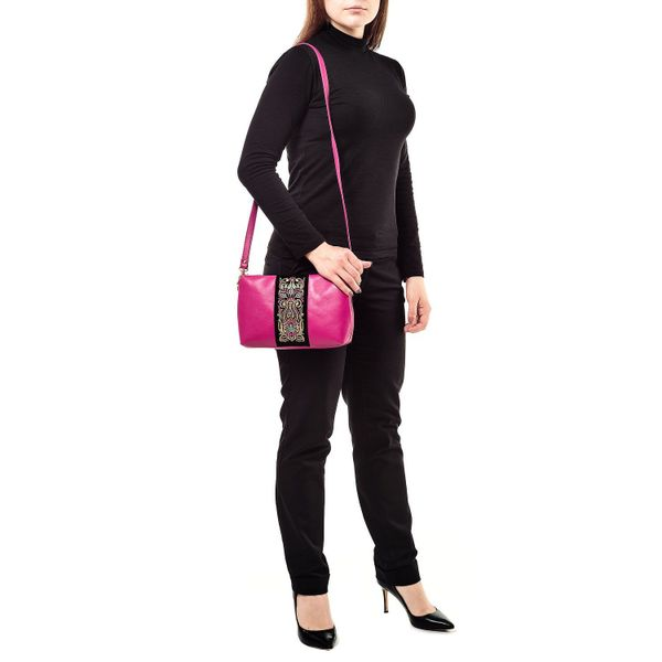 Leather bag 'Rainbow mood' pink color with Golden embroidery