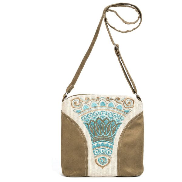 Linen bag Stone flower green silk embroidery