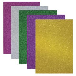 A colored porous rubber (tamaran), A4, 2 mm, TREASURE ISLAND, 5 sheets, 5 colors sequins