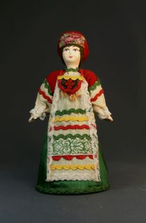 Doll gift porcelain. The Oryol province. Center. Russia. Girl in birthday suit.