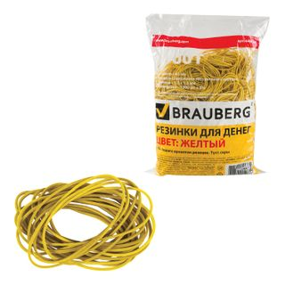 Universal bank rubber bands with a diameter of 60 mm, BRAUBERG 1000 g, yellow, natural rubber