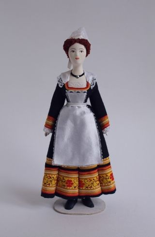 Women's costume of the 20th century. The Town Of Pont-Aven. France. Doll gift