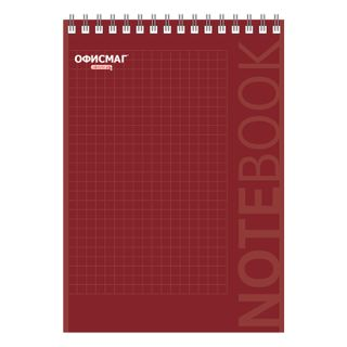 OFFICEMAG / Red notepad, 80 sheets A5 (146x205 mm), comb, cardboard, backing, cage