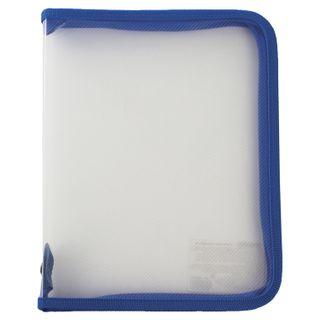 Folder for notebooks A5 PYTHAGORAS, plastic, lightning round, transparent, blue
