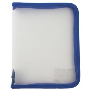 Folder for notebooks A5 PYTHAGORAS, plastic, lightning round, transparent, blue