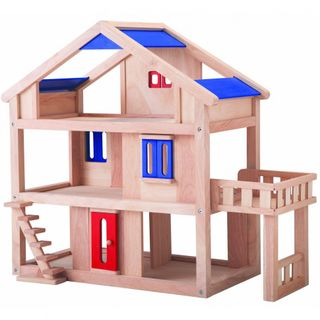 Doll wooden house with a terrace