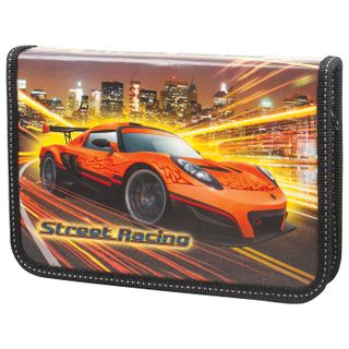 BRAUBERG pencil case, 1 compartment, for elementary school students, laminated cardboard, folding bracket, Porsche 19х13 cm