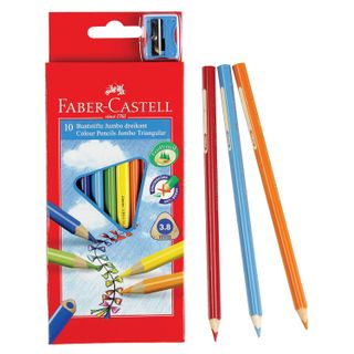 """Thickened colored pencils FABER-CASTELL """"Jumbo"""" 10 colors, triangular, with sharpener"""