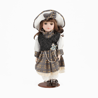 Porcelain doll Little lady dark gray dress