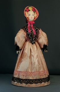 Doll gift porcelain. Lady in summer costume. The mid-19th century, Petersburg. The European fashion.