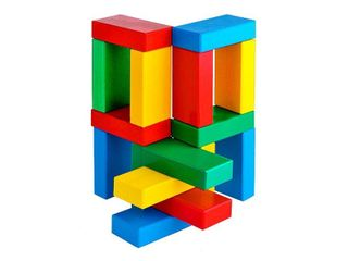 The bricks colored - 16 parts in wooden box for children from 2 years
