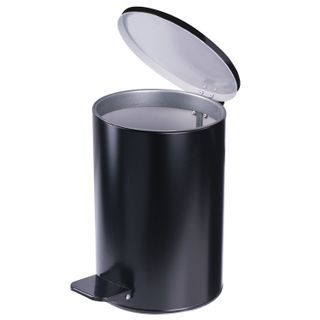 Waste bin with foot pedal ENHANCED, 10 l, bag ring, black, galvanized steel