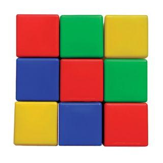 Plastic cubes, 9 pieces, 8 x8 x8 cm, colored,