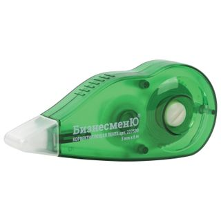Correction tape BUSINESSMAN 5 mm x 6 m, building green, with Curling, blister