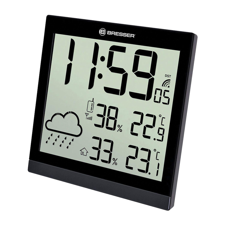 Meteorological station BRESSER TemeoTrend JC LCD, temperature sensor, hygrometer, clock, alarm clock, black