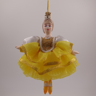 Christmas toy porcelain Ballerina in a yellow dress, 14 cm