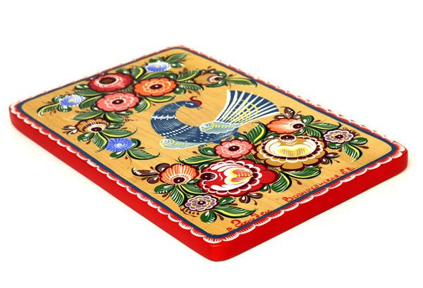 """Gorodets painting / Painted kitchen board """"Bird"""" 300x200x16 mm"""