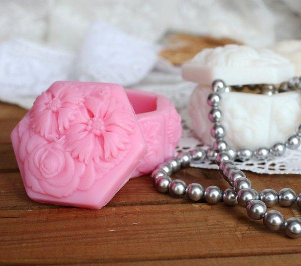 Pink Flower Casket - handmade soap in the shape of a casket