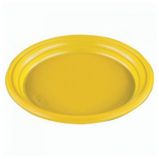 "STIROLPLAST / Disposable flat plates, SET 100 pcs, plastic, d = 165 mm, ""ECONOMY"", YELLOW, polystyrene (PS), cold / hot"