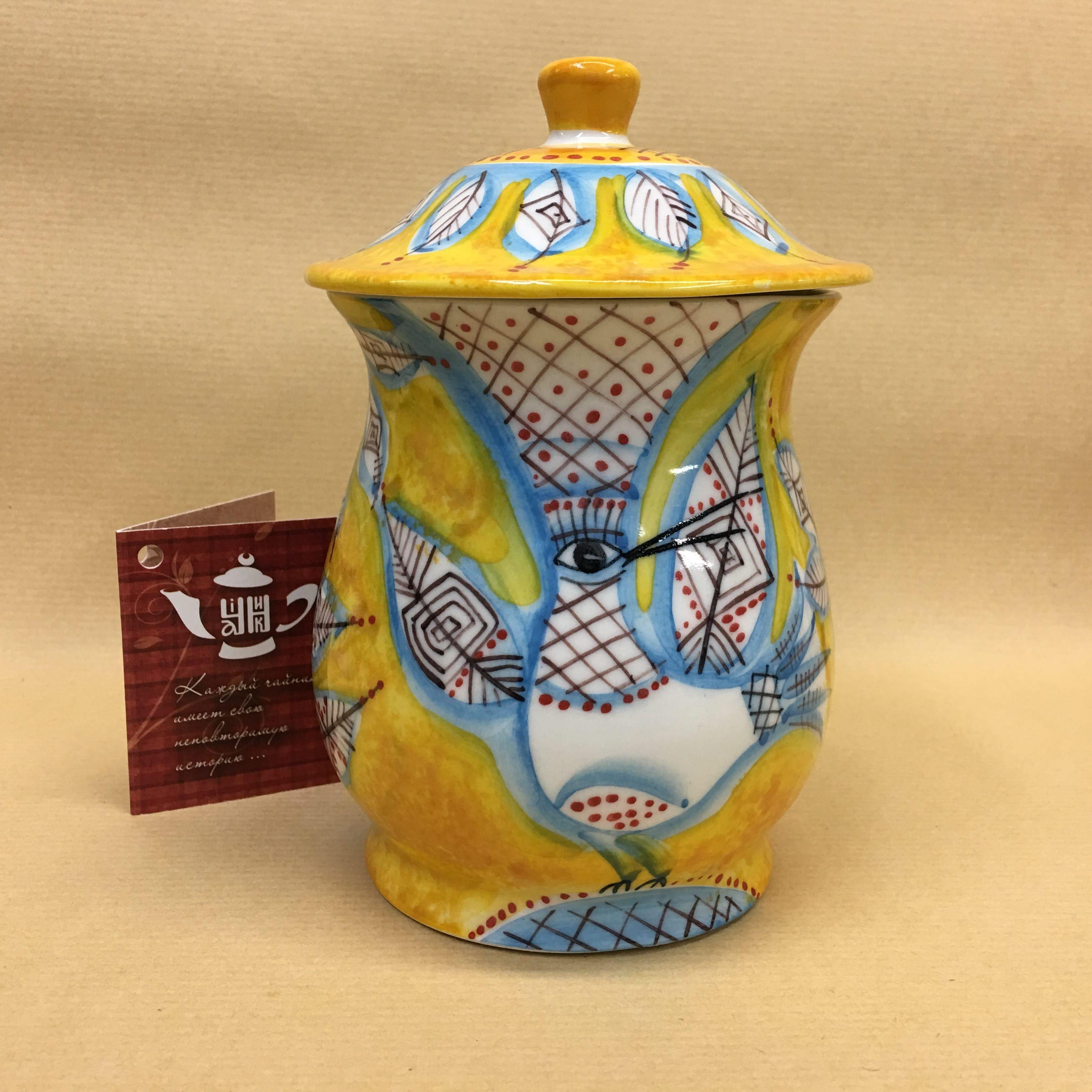 "Cheerful porcelain / Porcelain sugar bowl ""Birds"", author Ogorodnikova O."