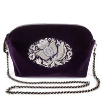 Velvet bag Luxury purple color with silver embroidery