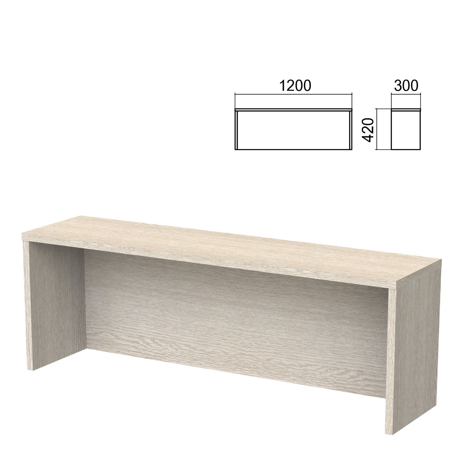 Argo table add-on, 1200 mm wide, ash shim