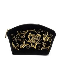 Velvet cosmetic bag 'Romance' black with golden embroidery
