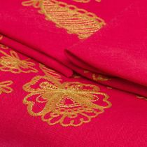 Tablecloth and 12 napkins, 'Holiday' red color with embroidery floss