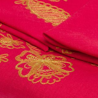 """Tablecloth and 12 napkins, """"Holiday"""" red color with embroidery floss"""
