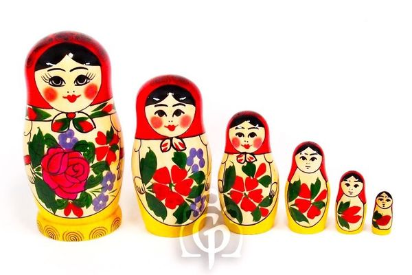 Russian - traditional nesting doll, 6 dolls (large size)