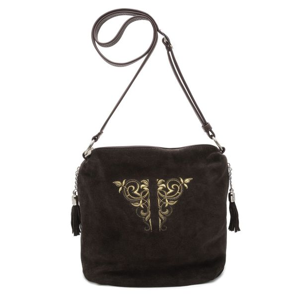 Bag made of eco-leather 'Sonata' brown with gold embroidery